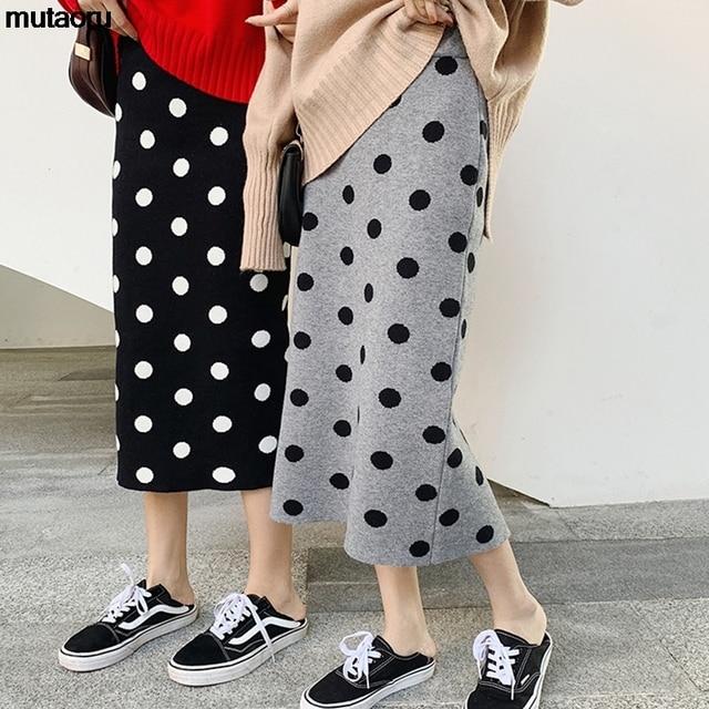 2019 autumn winter Polka Dot Knitted skirt women stretch high waist soft knit skirts woman 2