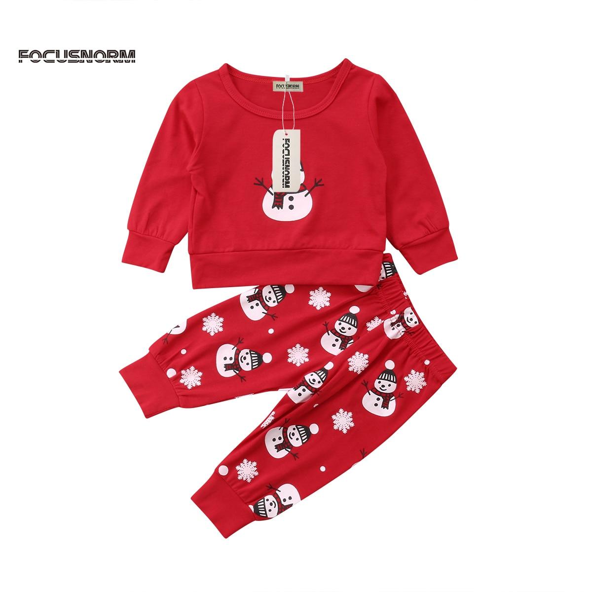 2pcs Christmas Newborn Baby Boy Girl Clothes Snowman Long