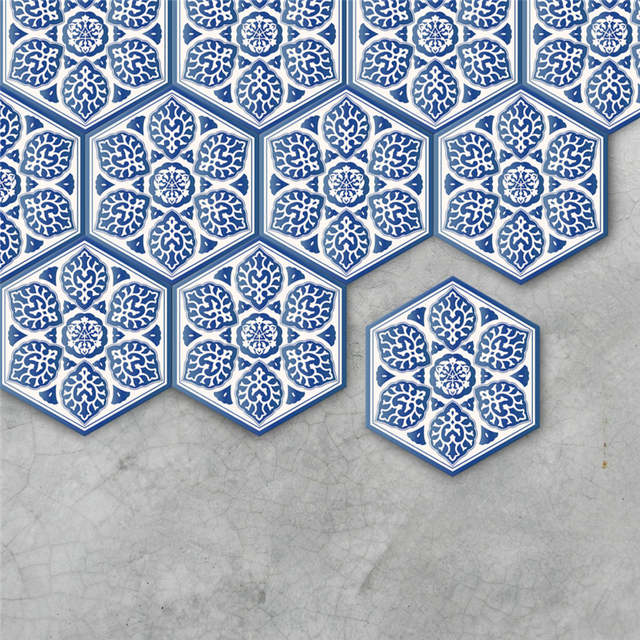Online Shop 10pcsset Blue And White Porcelain Style Waterproof - Blue-bathroom-tile-stickers