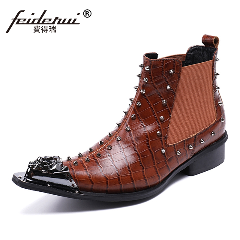 Plus Size Pointed Toe Metal Tipped Man Handmade Cowboy Studded Shoes Genuine Leather Spiked Men's Chelsea Ankle Boots SL191 nikbea handmade genuine leather western boots cowboy large size women pointed toe boots 2016 autumn shoes fashion botas mujers