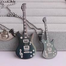Lovers BLACK guitar Musical note pendant necklaces bead chain for men women 316L Stainless Steel necklace(China)
