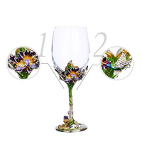 GFHGSD High Grade Crystal Champagne Flutes Stand Metal With Enamel Creative Style Goblet Glasses Red Wine