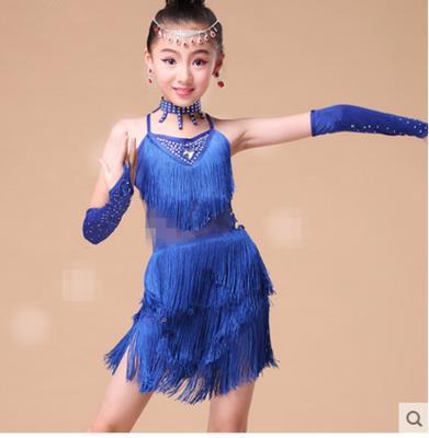 girls fringe ballroom to children sleeved tassel latin clothing competition dress samba rumba and tango dance dresses for sale
