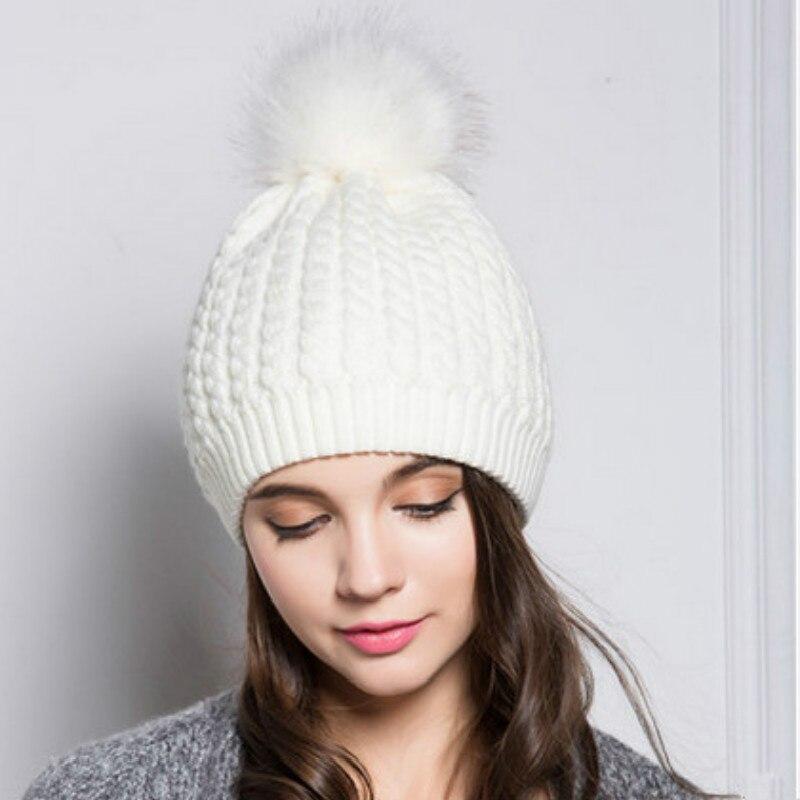 470d0f44833 Black White Lady Pompom Winter Hat For Women Warm Crochet Knit Beanie  Skullies With Pom Pom Ball Top Outdoor Ski Pompon Bonnet-in Skullies    Beanies from ...