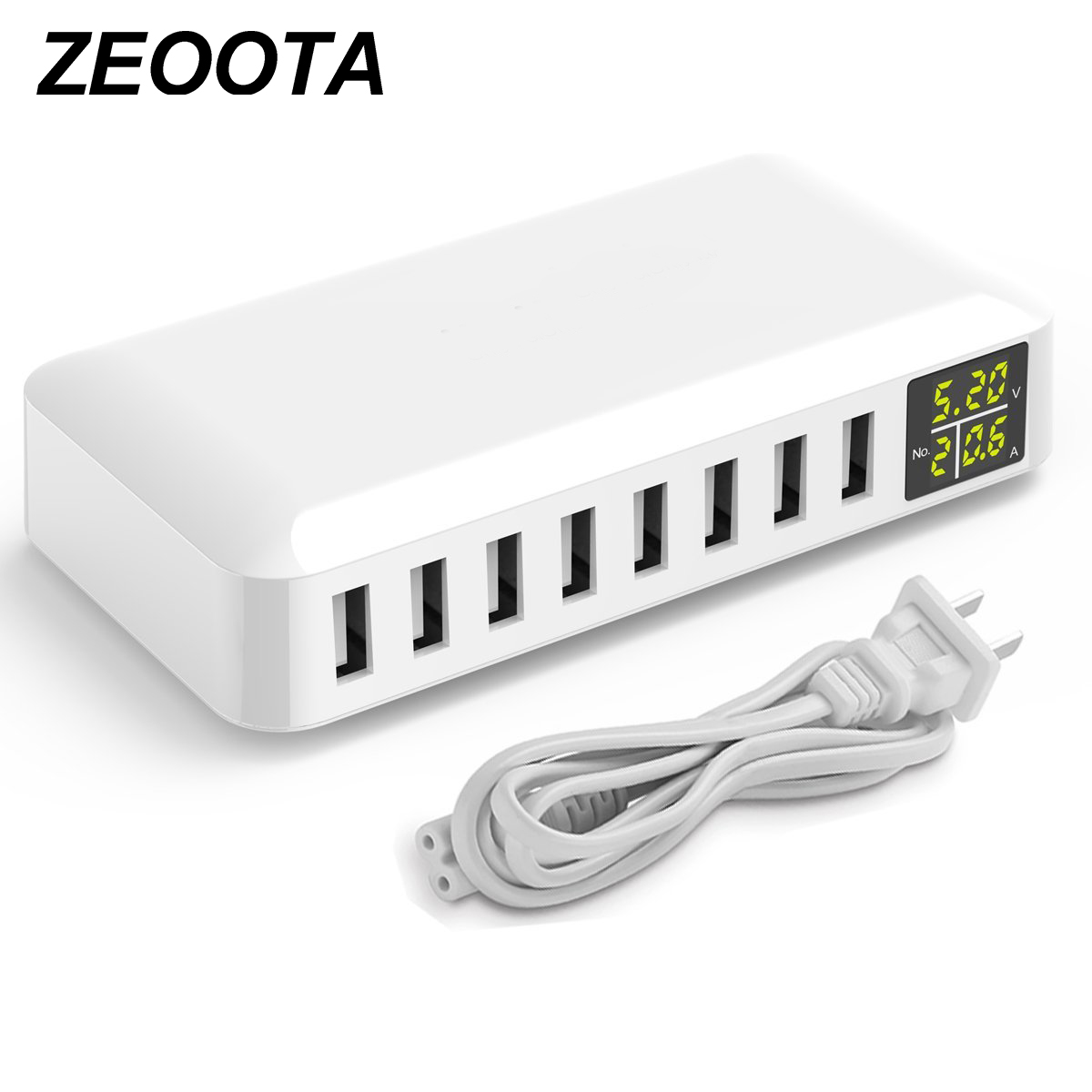 USB Charger Multi ports 8-Port Wall Charger LCD Display 40W MAX 8A USB Charging Station For iPhone iPad Samsung HTC Tablets стоимость