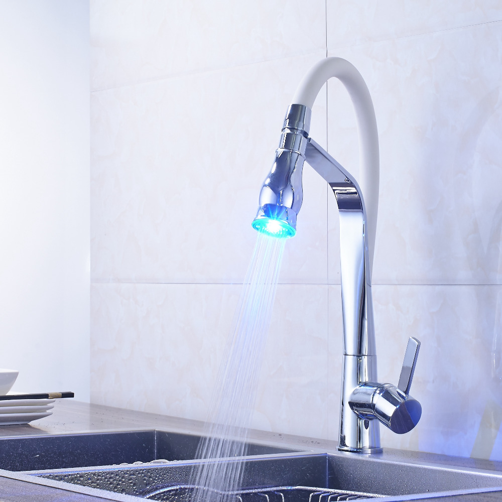 Chrome Finish Pull Out Bathroom Kitchen Faucet Mixer Tap Deck Mounted LED Kitchen Faucet free shipping polished chrome finish new wall mounted waterfall bathroom bathtub handheld shower tap mixer faucet yt 5333