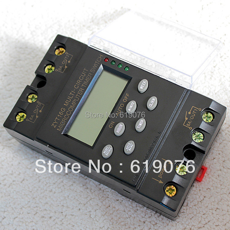 timer switch ZYT16G-3a 220V 25A cycle microcomputer time controlled switch timer controller waterproof english version
