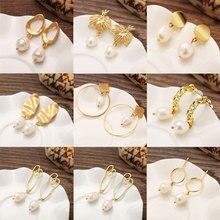 Fashion Pearl Earrings Vintage Stud Earrings Geometric Freshwater Pearl earrings for women Dangle Drop earings fashion jewelry цена и фото