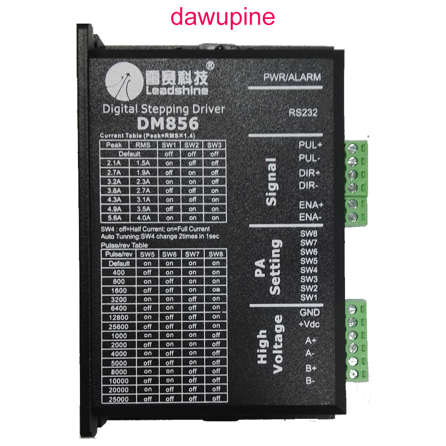 dawupine Stepper Motor Controller Leadshine DM856 2-phase 57 86 Digital Stepper Motor Driver 20-80 Vdc 1A to 5.6A NEMA23 NEMA34