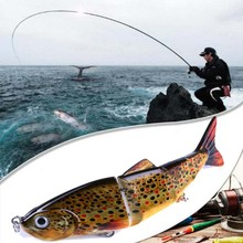 Sert balıkçılık Lures 12CM 16.8G çok eklemli 3D gözler cazibesi 8 Segment sert Lure Crankbait 6 # Kanca balıkçılık yemler ST