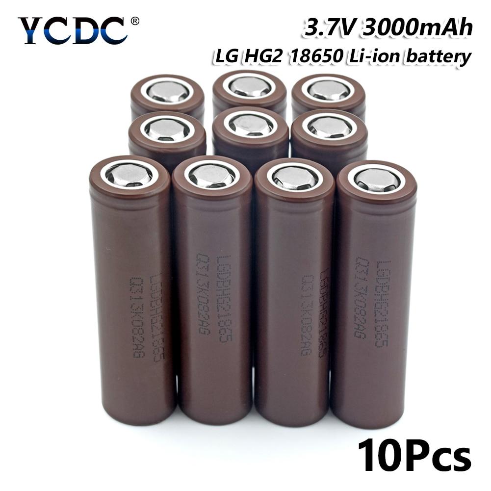 high performance lg hg2 18650 battery 3000mah 3.7v rechargeable cell 10pcs for Laser Pen LED Flash light Cell battery holder seizaiken sr516sw 1 55v silver oxide cell button battery 10pcs