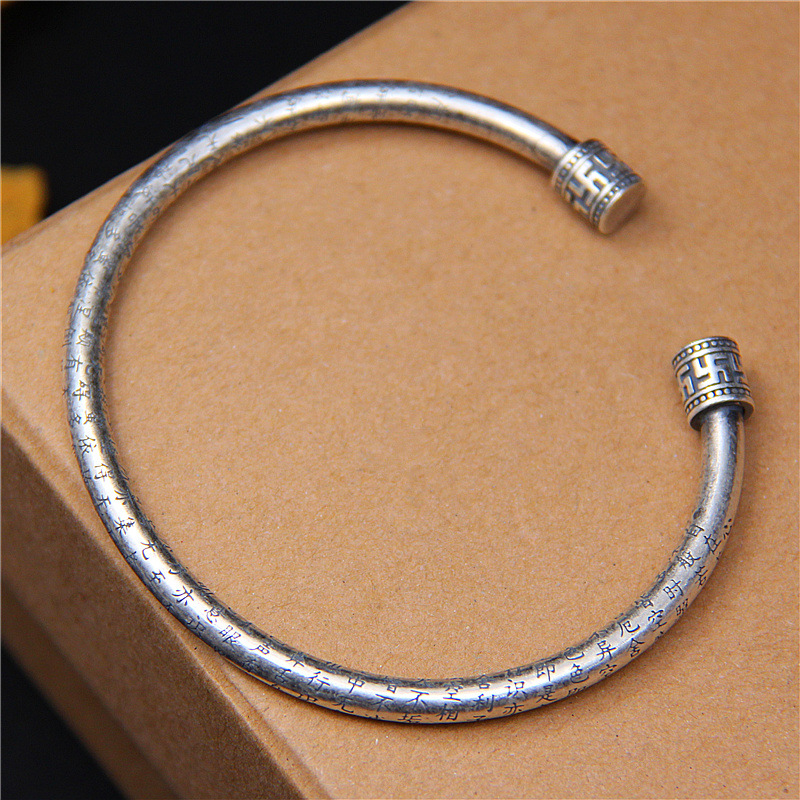 L&P Bracelet&Bangle 100% 999 Sterling Silver bangles For Women Vintage Buddhist scriptures Jewelry  Birthday Gifts Top QualityL&P Bracelet&Bangle 100% 999 Sterling Silver bangles For Women Vintage Buddhist scriptures Jewelry  Birthday Gifts Top Quality