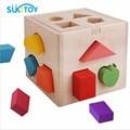 Bebé Juguetes Forma Clasificación Cube Educativos Juguetes De Madera Para Niños Juguete Intelectual Clásico Regalo de Cumpleaños caja de Geometría WD061