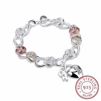 Lekani 925 Silver Bracelet Women Bracelet 925 Silver Fine Jewelry Crystal Heart Lock Flower Simple Droplets Lobster Clasp цена 2017