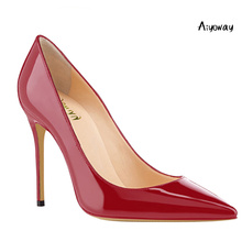 Aiyoway Fashion Women Ladies Pointed Toe High Heel Pumps Patent Leather Autumn Spring Party Office Shoes Slip On