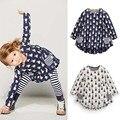 Muchachas que arropan la manera completo conejo imprimir pocket dress striped leggings 2 unids ropa para niños suave de dibujos animados ropa de los niños
