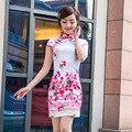 Shanghai Story vestidos pink flower print Qipao Dress traditional chinese clothing oriental dresses cotton cheongsam dress
