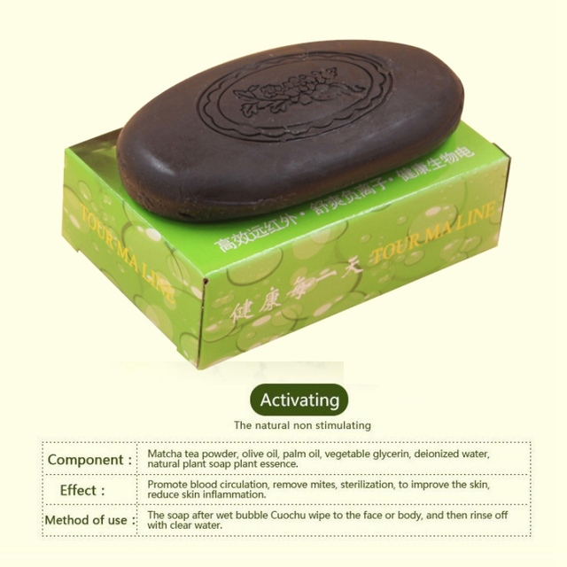 Active Energy Bamboo Tourmaline Soap For Lady Female Women Face Hand Body Healthy Care Soap 3