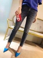 2018 Весна и осень Женская мода буквы джинсы