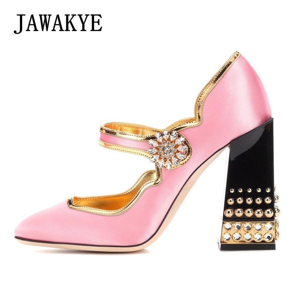 Здесь можно купить  JAWAKYE Elegent Pink Silk Women Pumps Chunky high heels Runway Shoes Studded Rhinestone Buckle Fashion Party Wedding Shoes Woman  Обувь