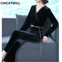 CHICATWILL 2019 Celebrity Formal OL Velour Jumpsuit for Women Office Lady Velvet Rompers Long Pants with Chains Belt Bodysuits