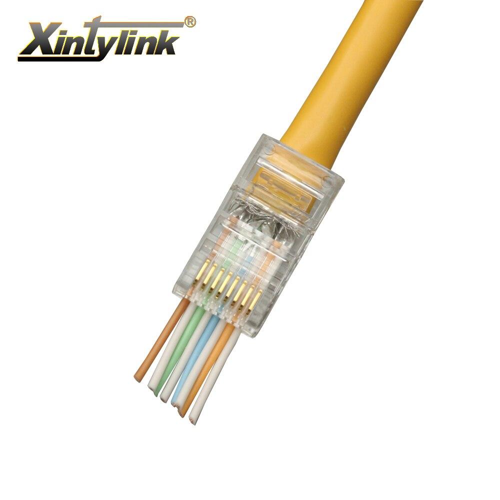 xintylink 100pcs EZ rj45 connector rj45 plug cat5 cat5e network connector 8P8C unshielded male utp ethernet modular terminals