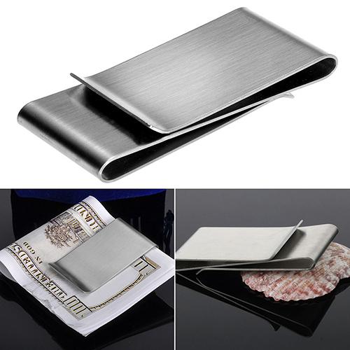 Stainless Steel Silver Color Slim font b Money b font font b Clip b font Purse