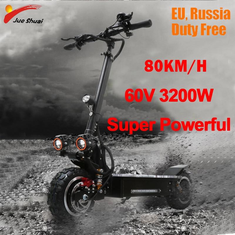 3200 W 60 V 80 KM/H Scooter Eléctrico 11 pulgadas fuera de carretera adultos plegable impermeable Samsung Electrico Motor Hoverboad monopatín