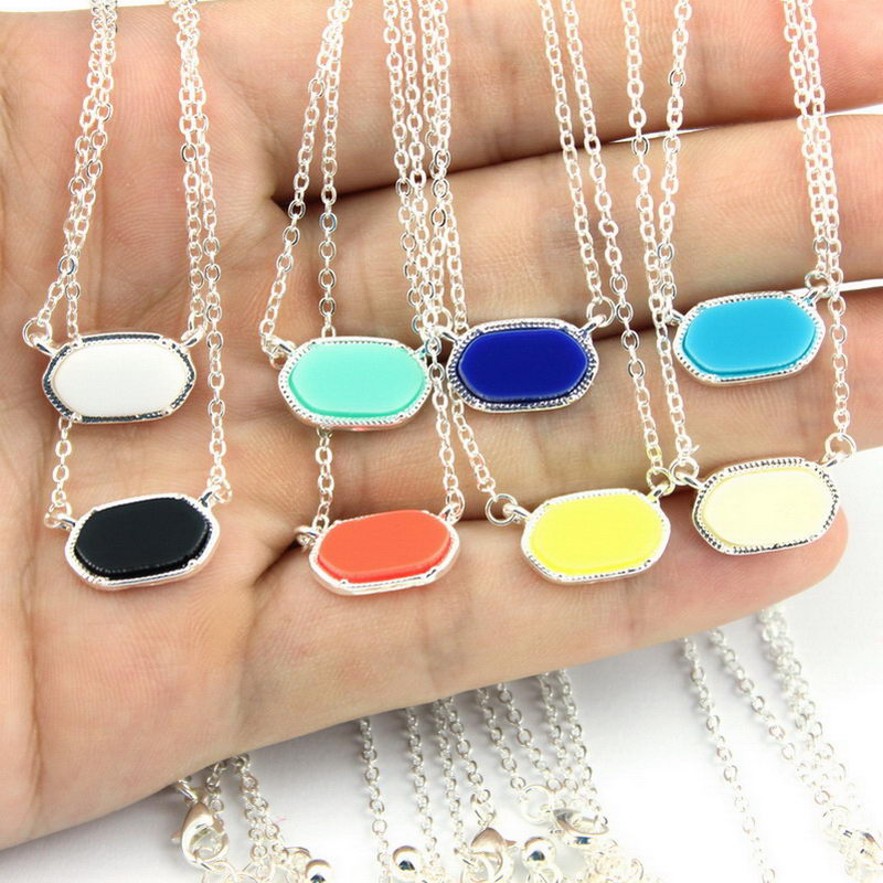 GET IT GIRL 2016 New Famous Brand KS Classic Silver Frame Mini Oval Pendant Necklace New Fashion Choker Necklace Women Jewelry
