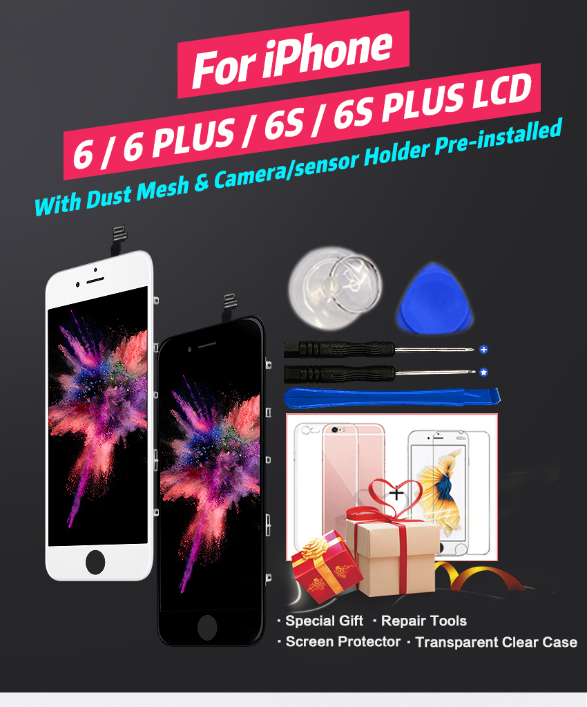 HTB1RT15XOfrK1RjSspbq6A4pFXaZ Grade AAA+++ For iPhone 6 6S Plus LCD With 3D Force Touch Screen Digitizer Assembly For iPhone 5S Display No Dead Pixel