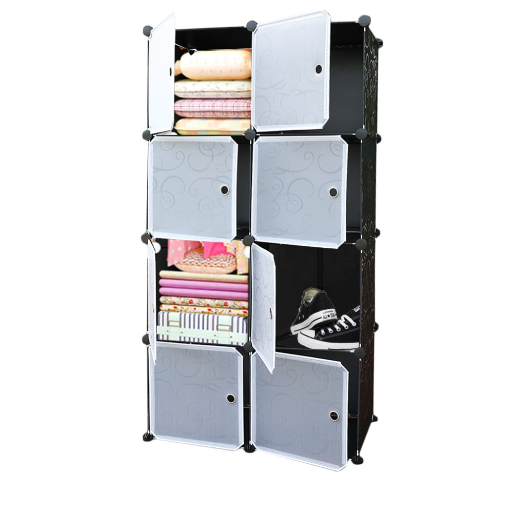 Assembled:  8/20 Lattice DIY Assembled Wardrobe Simple Wardrobe Hanging Clothes Storage Cabinet Baby Wardrobe Home Furniture Dropshipping - Martin's & Co
