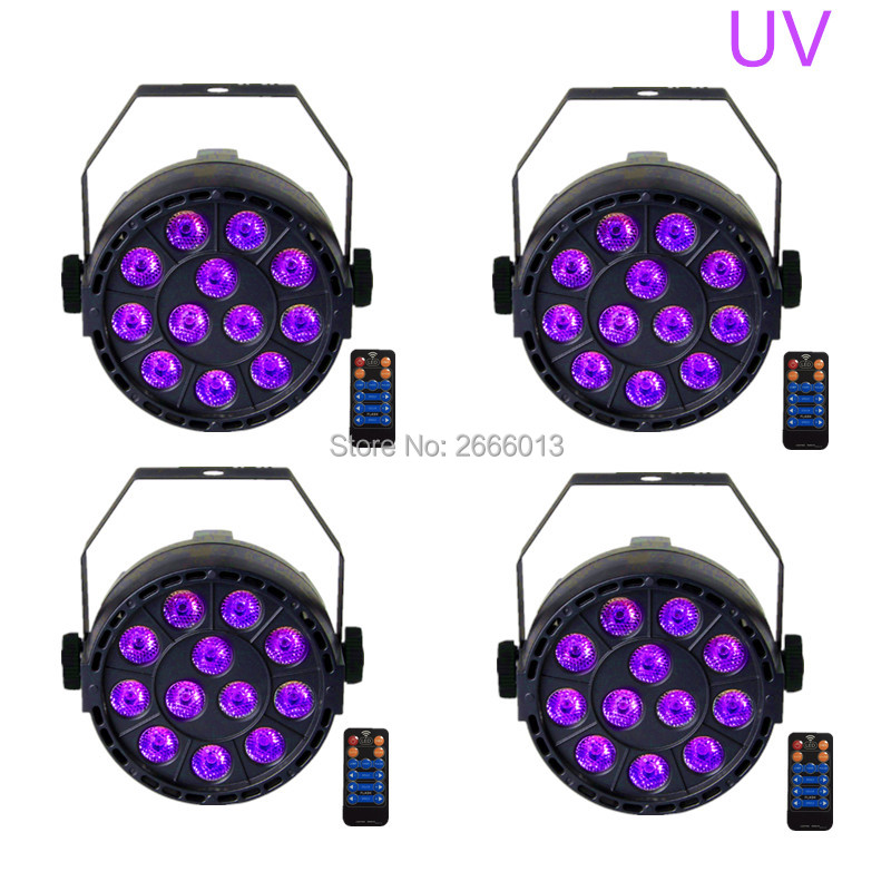 4pcs/lot With Reomte Control 36W UV LED Stage Light Ultraviolet LED Par Light UV Purple LED Lamp For Disco Nightclub Home Party 36w uv led stage light black light par light ultraviolet led spotligh lamp with dmx512 for disco dj club show party decoration