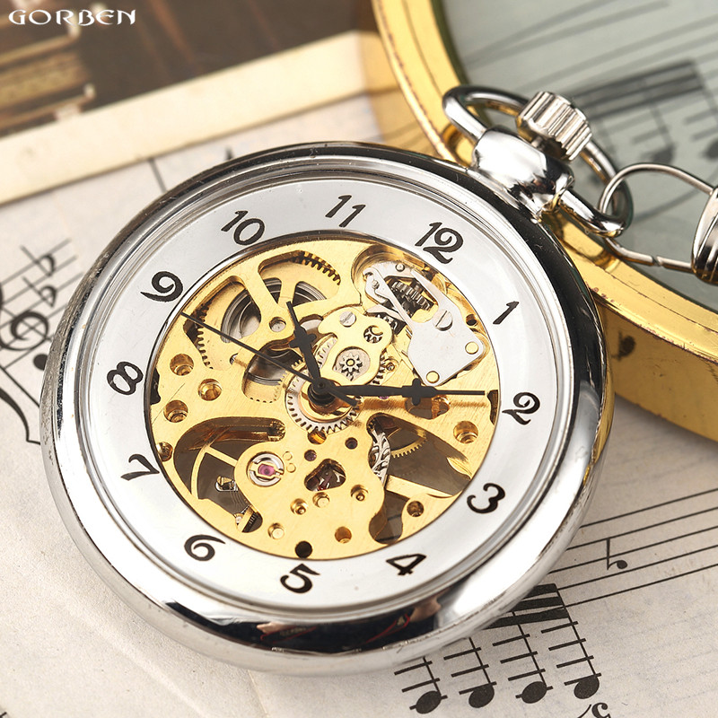Retro Silver Mechanical Pocket Watch For Men Women Skeleton Steampunk FOB Watch Chain Hand Winding Full Steel Transparent Clock