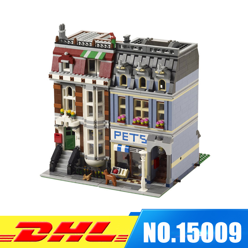 DHL More Stock 2082Pcs LEPIN 15009 City Street set Pet Shop Model Building Blocks Bricks intelligence Toys Compatible With 10218 dhl lepin 02038 1767pcs city series the city square education building blocks bricks toys compatible 60097 in stock