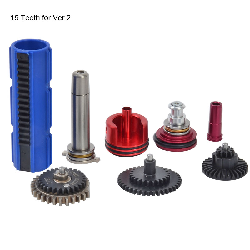 13:1 High Speed Gear 14/15 Teeth Piston Cylinder Piston Head Spring Guide Nozzle Tune-Up Set for M4/AK for Ver.2/3 Airsoft AEG цена