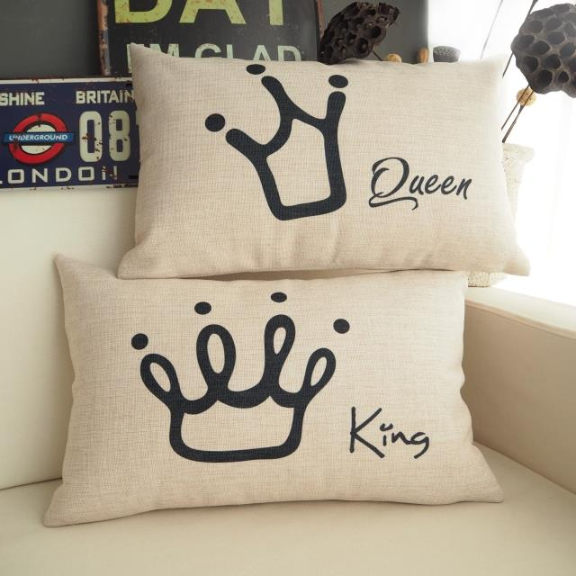 Free Shipping Novelty Wedding Gift King Queen Words Crown Pattern Linen Rectangular Cushion Cover Home Car Decor Pillow Case In From