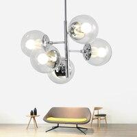 Modern Nordic industrial style 5 heads E14 LED ceiling lights glass lamp restaurant hanging lamp living room lamp bedroom cafe