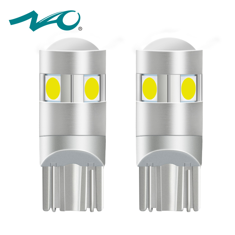 NAO 2x t10 LED Bulb w5w led Lamp Car Lights Interior Super Bright 1.6W 5 led 3030 SMD 194 168 12V 6000K White Orange Turn Signal купить в Москве 2019
