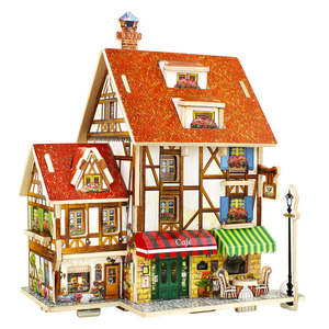 Robud 3D France Cafe Puzzles Game Wooden Model Building Kits Popular Educational Toys Hobbies Gifts for Children F125