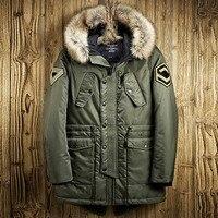 2019 New Winter Jacket Men Long Design Warm Thicken Cotton Coats Male Fashion Thermal Fur Collar Hooded Parkas Windbreak Outwear