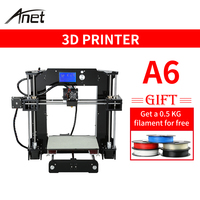 Anet A6 3d DIY printer Kit Large Printing Area 220*220*250mm with 8GB SD Card 0.4mm Nozzle Reprap i3 Aluminium Alloy Hotbed