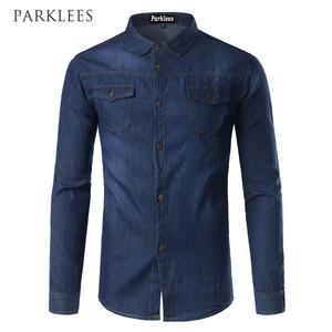 Image 4 - New Men Jeans Blue Shirt Chemise Homme 2017 Fashion Flip Pockets Mens Slim Fit long Sleeve Denim Shirts Camisa Masculina
