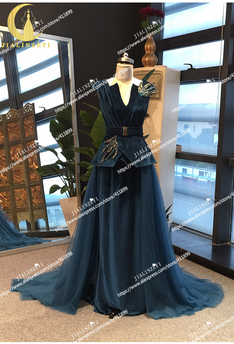 JIALINZEYI 100% Real Picture Velvet With Beads V Neck Floor Length Mother Of The Bride Dresses