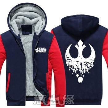 New Winter Jackets Coats film Star  hoodie Darth vader Hooded Thick Zipper Men cardigan Sweatshirts