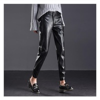 Casual harlem PU leather pants women plus size high quality ankle length leather harem pants trousers free shipping
