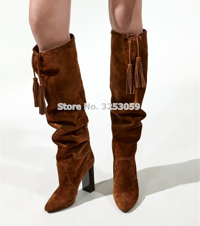 ALMUDENA Women Chunky Heels Folded Fringe Knee Boots Thick High Heel Brown Suede Luxury Turn Over Tassel Long Boots Winter Shoes