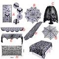 Кружевная скатерть с паутинным декором на Хэллоуин, Каминный платок, черные бегуны для столов для домашних мероприятий, вечерние принадлеж...