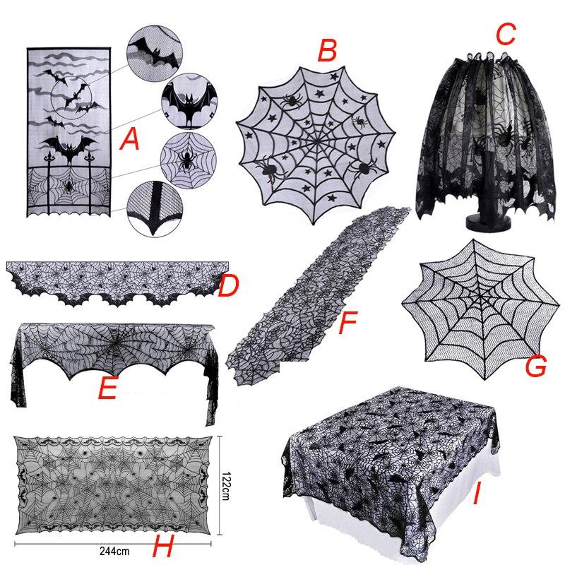 Halloween decoração laço aranha web toalha de mesa lareira cachecol preto corredores de mesa para casa evento festa suprimentos