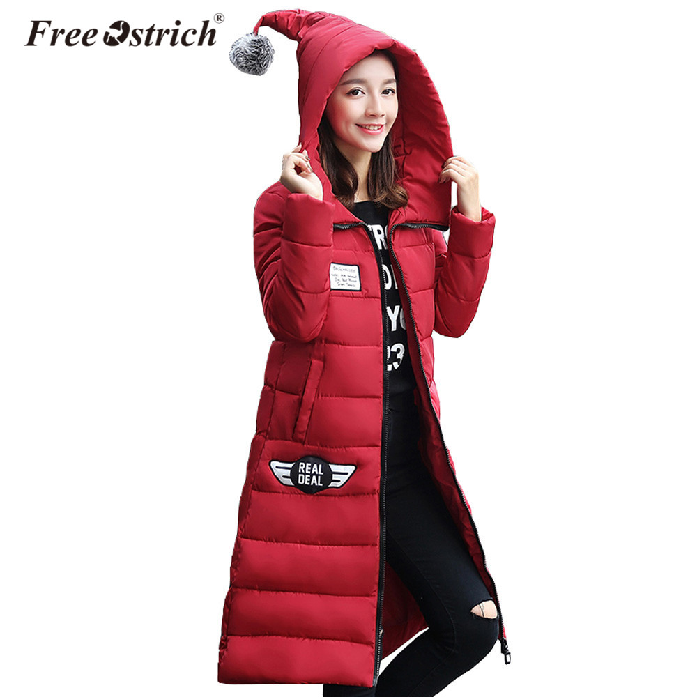 Free Ostrich Jackets Women Winter Hooded Warm Padded Casual Solid Zipper Pocket Thick Jacket Long Coat Jaqueta Feminina L0630