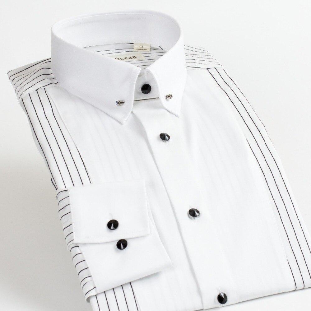 2017 Nieuwe Mannen Shirt 100% Katoen camisa sociale masculina Lange Mouwen Slim Fit Vestidos Jurk Witte Shirts Mannen DDX55519L-in Smoking overhemd van Mannenkleding op  Groep 1